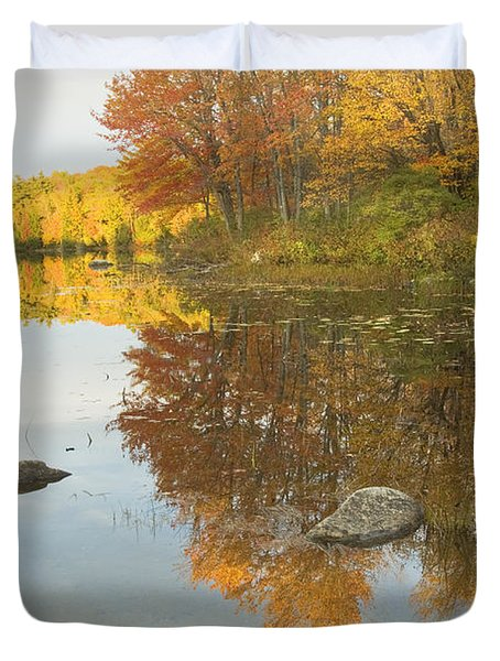 Fall colors on Taylor Pond Mount Vernon Maine Duvet Cover by Keith Webber Jr