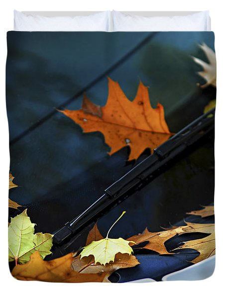 Fall Leaves On A Car Duvet Cover by Elena Elisseeva
