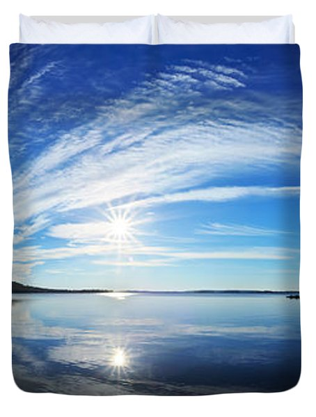 Fall Morning at Meddybemps Panorama Duvet Cover by Bill Caldwell -        ABeautifulSky Photography