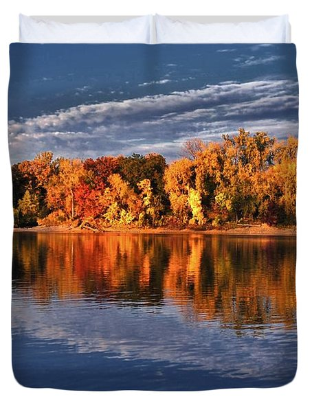 Fall on the Mississippi river Duvet Cover by Todd and candice Dailey