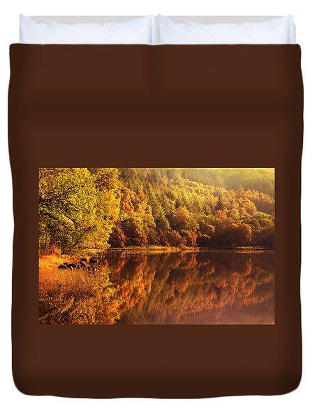 Fall Reflections. Loch Achray. Scotland Duvet Cover by Jenny Rainbow