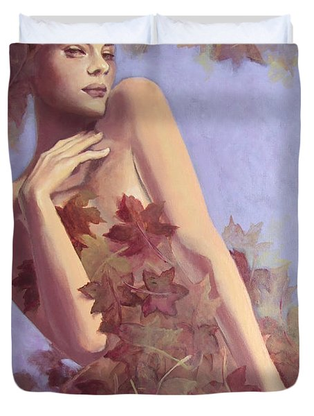 Fall...in Love... Duvet Cover by Dorina  Costras
