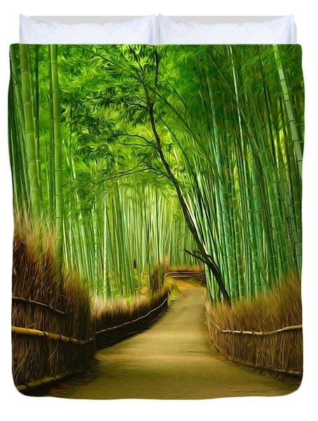 Famous Bamboo Grove At Arashiyama Duvet Cover by Lanjee Chee