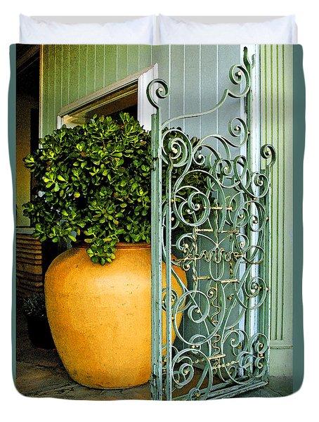 Fancy Gate And Plain Pot Duvet Cover by Ben and Raisa Gertsberg