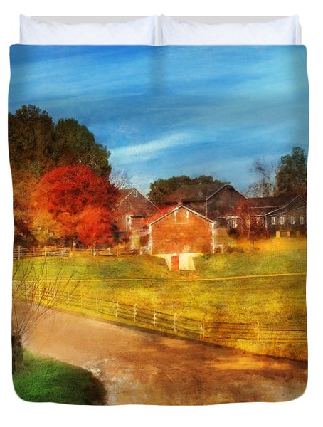 Farm - Barn -  A Walk In The Country Duvet Cover by Mike Savad