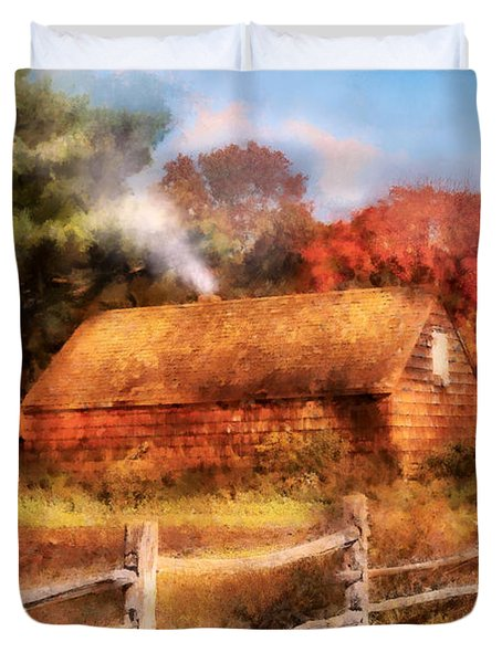 Farm - Barn - Our Cabin Duvet Cover by Mike Savad