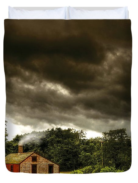 Farm - Barn - Storms a comin Duvet Cover by Mike Savad