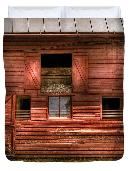 Farm - Barn - Visiting the Farm Duvet Cover by Mike Savad