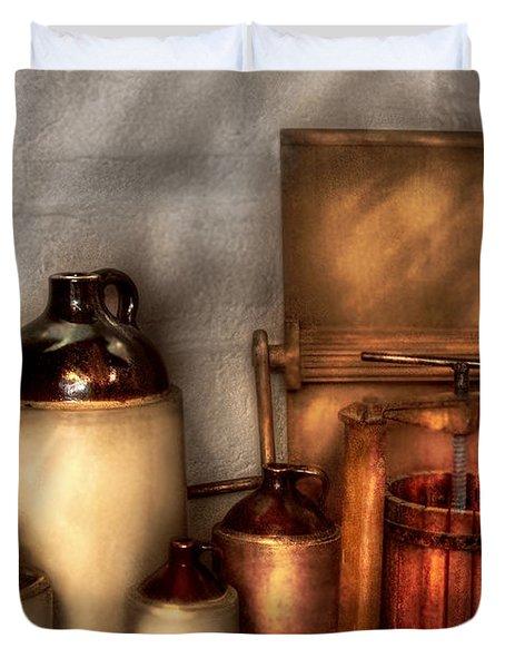 Farm - Bottles - Let's make some  apple juice Duvet Cover by Mike Savad