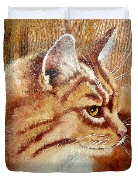 Farm Cat On Rustic Wood Duvet Cover by Debbie LaFrance
