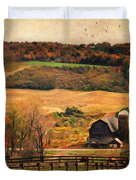 Farm Country Autumn - Sheldon NY Duvet Cover by Lianne Schneider