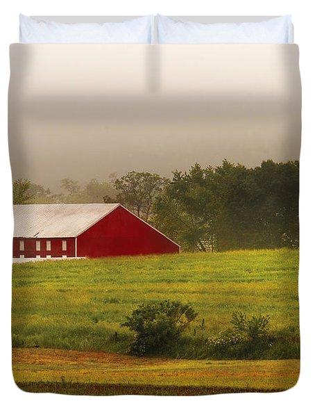 Farm - Farmer - Tilling The Fields Duvet Cover by Mike Savad