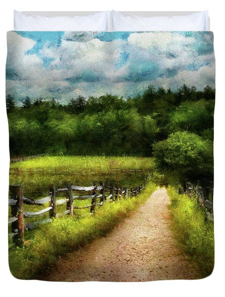 Farm - Fence - Every journey starts with a path  Duvet Cover by Mike Savad