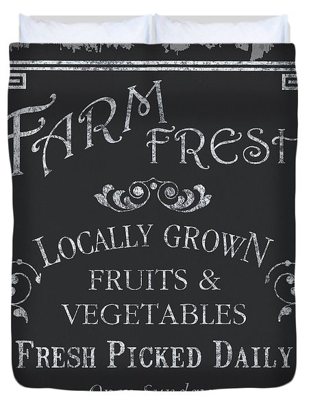 Farm Fresh Sign Duvet Cover by Debbie DeWitt