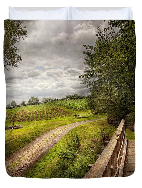 Farm - Landscape - Jersey Crops Duvet Cover by Mike Savad