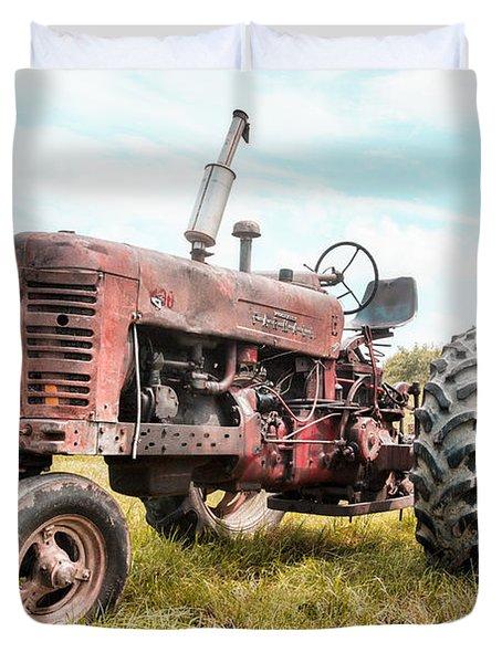 Farmall Tractor Dream - Farm Machinary - Industrial Decor Duvet Cover by Gary Heller