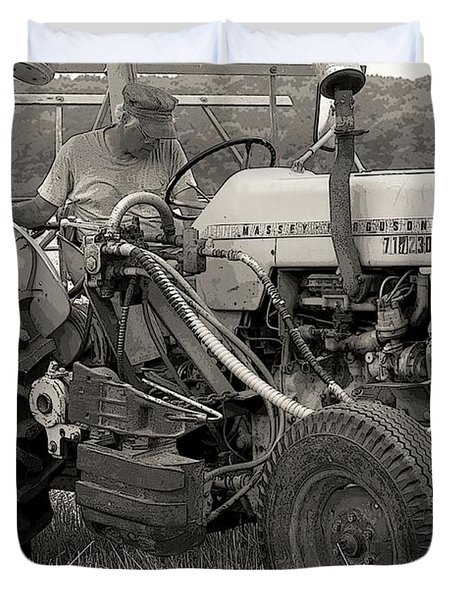 Farmer And His Tractor Duvet Cover by Kathleen Struckle