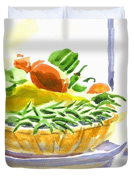 Farmers Market V Summers Harvest In The Window Duvet Cover by Kip DeVore