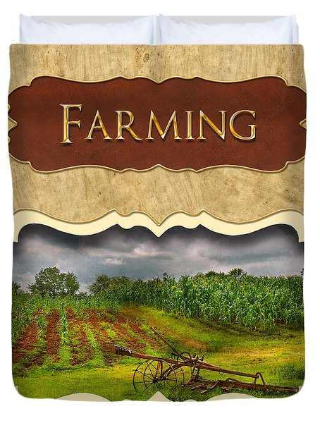 Farming and country life button Duvet Cover by Mike Savad