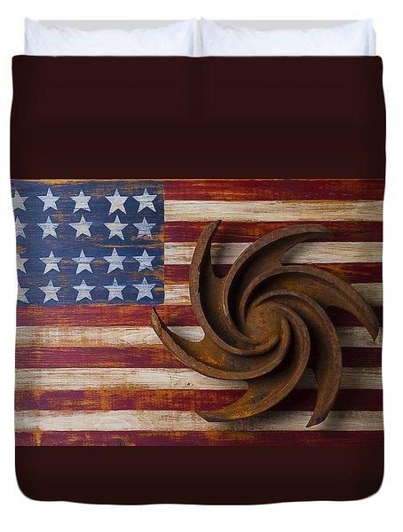 Farming Tool On American Flag Duvet Cover by Garry Gay