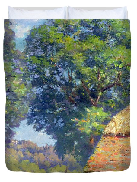 Farmyard With Poultry Duvet Cover by Gabriel Edouard Thurner