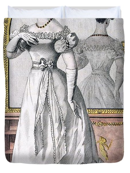 Fashion Plate Of A Lady In Evening Duvet Cover by English School
