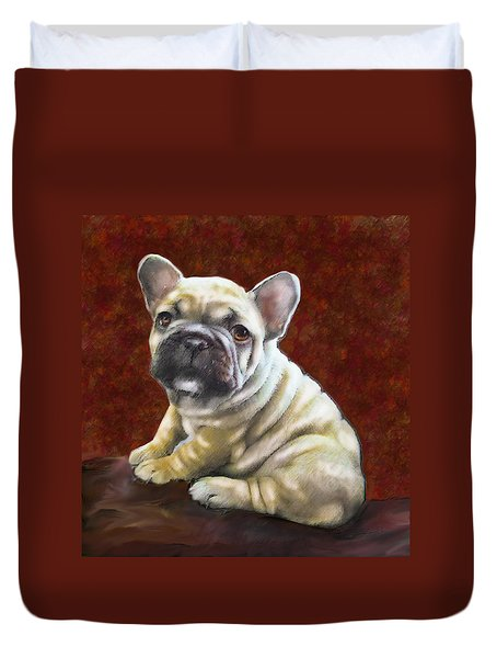 Fawn French Bulldog Puppy Duvet Cover by Jane Schnetlage
