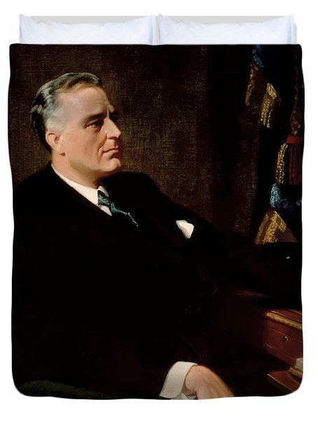 FDR Official Portrait  Duvet Cover by War Is Hell Store