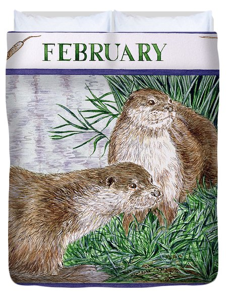 February Wc On Paper Duvet Cover by Catherine Bradbury