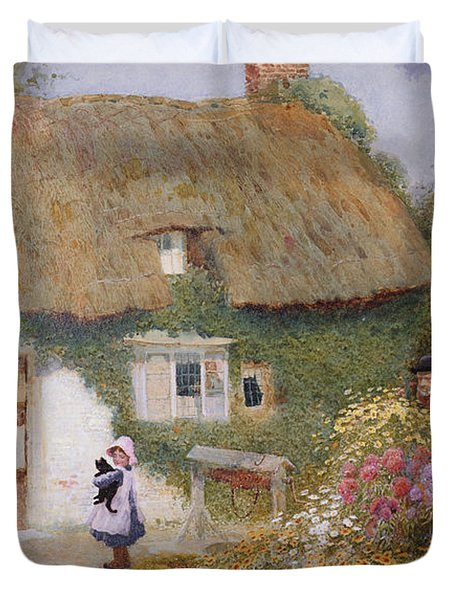 Feeding The Pigeons Duvet Cover by Arthur Claude Strachan