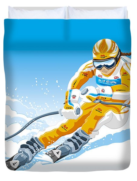 Female Downhill Skier Winter Sport Duvet Cover by Frank Ramspott