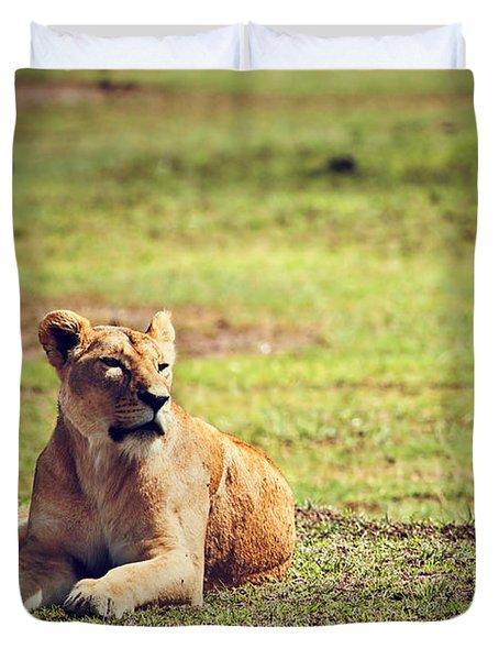 Female Lion Lying. Ngorongoro In Tanzania Duvet Cover by Michal Bednarek