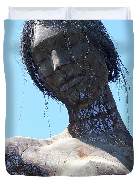 Female Sculpture On San Francisco Treasure Island 7d25444 Duvet Cover by Wingsdomain Art and Photography