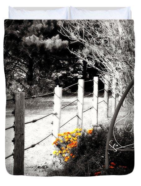 Fence Near The Garden Duvet Cover by Julie Hamilton