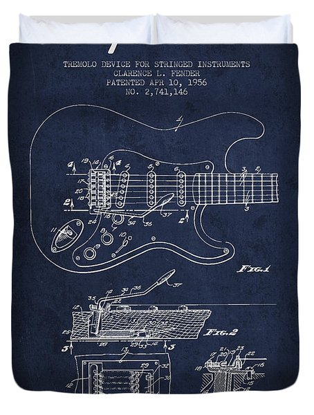 Fender Tremolo Device patent Drawing from 1956 Duvet Cover by Aged Pixel
