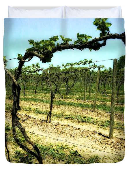 Fenn Valley Vineyards Duvet Cover by Michelle Calkins