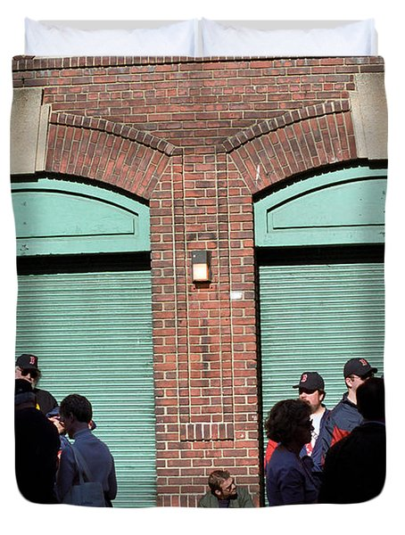 Fenway Park - Fans And Locked Gate Duvet Cover by Frank Romeo