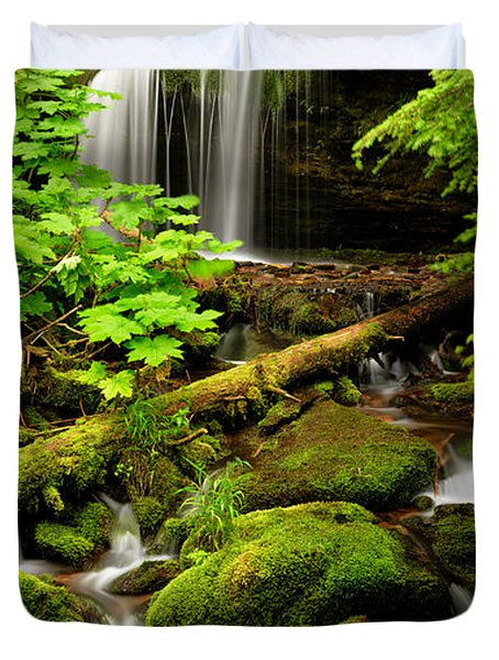 Fern Falls Panoramic Duvet Cover by Leland D Howard