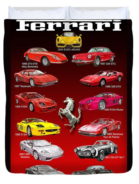 Ferrari Poster Art Duvet Cover by Jack Pumphrey