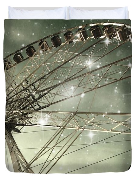 Ferris Wheel At Night In Paris Duvet Cover by Marianna Mills