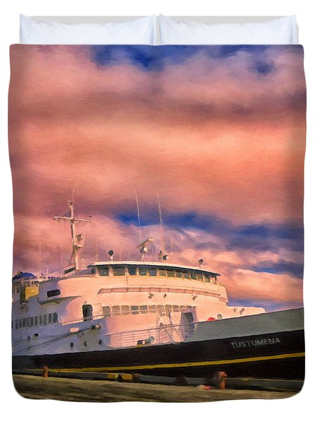 Ferry Dockside At Cold Bay Duvet Cover by Michael Pickett