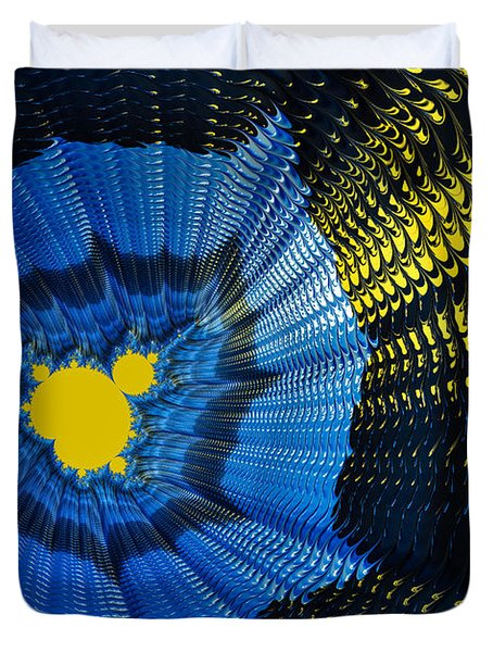 Field of force - yellow blue and black abstract fractal art Duvet Cover by Matthias Hauser
