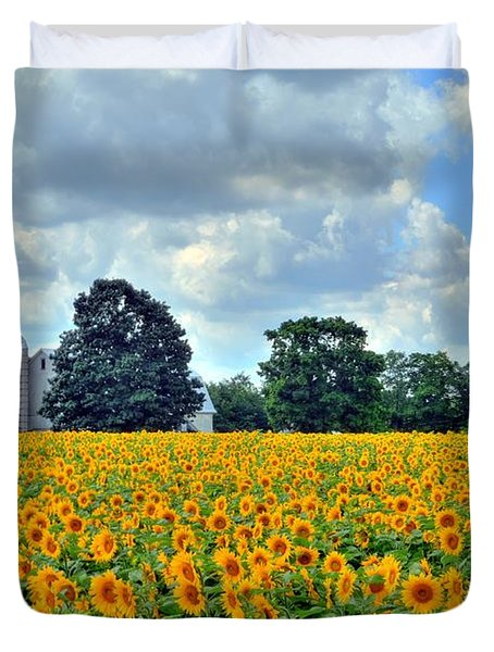 Field Of Sunflowers Duvet Cover by Kathleen Struckle