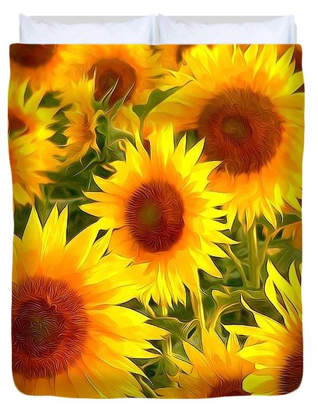 Field Of Sunflowers Duvet Cover by Lanjee Chee