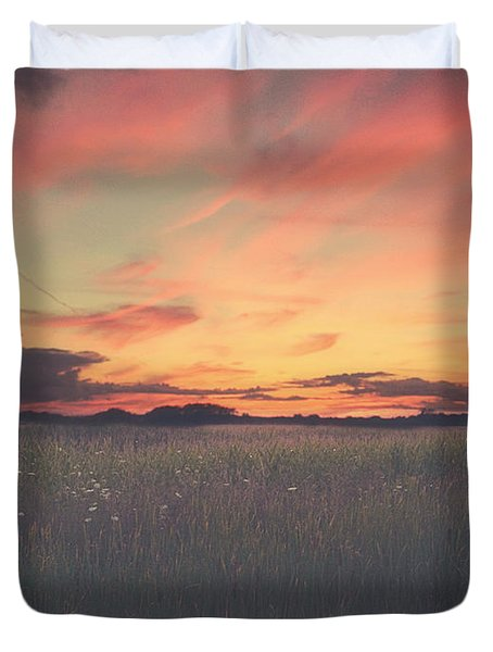 Field On Fire Duvet Cover by Carrie Ann Grippo-Pike