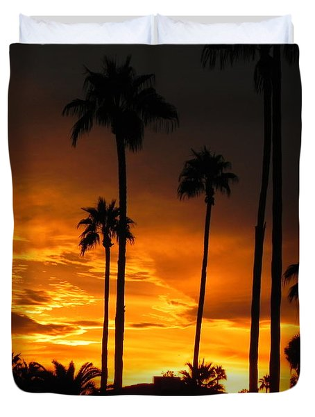 Fiery Sunset Duvet Cover by Deb Halloran