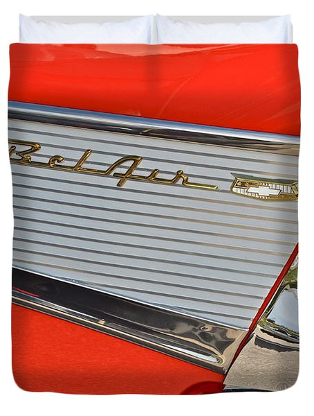 Fifty Seven Chevy Bel Air Duvet Cover by Frozen in Time Fine Art Photography