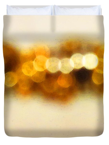 Fire Dance - Warm Sparkling Abstract Art Duvet Cover by Sharon Cummings
