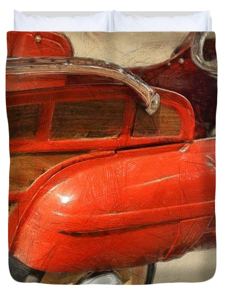 Fire Engine Pedal Car Duvet Cover by Michelle Calkins