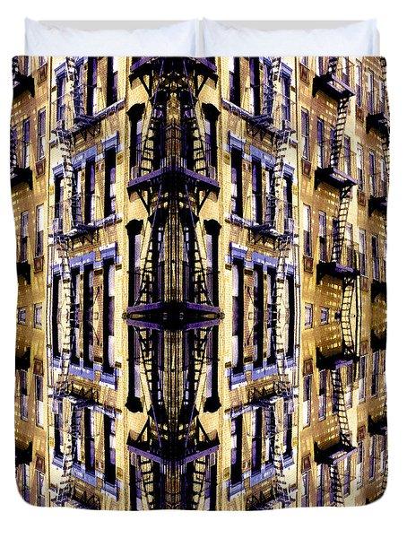 Fire Escapes - New York City Duvet Cover by Linda  Parker